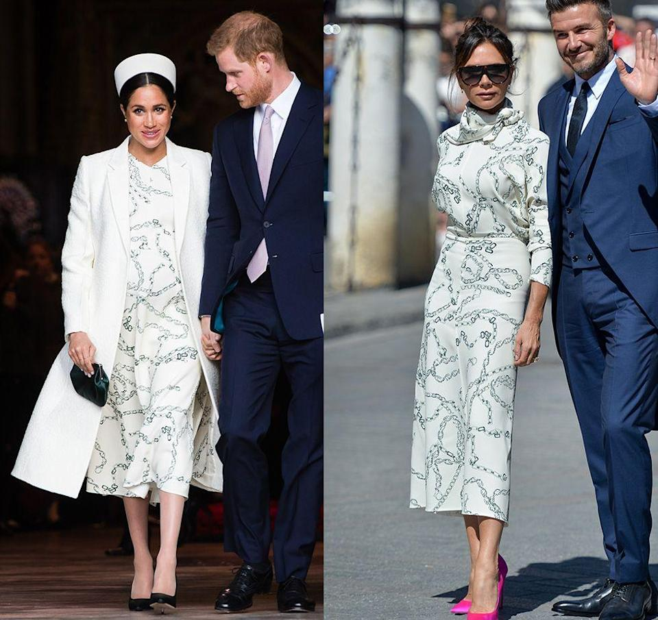 """<p>Fans of Meghan Markle's bridle print dress that the royal wore to Commonwealth Day in 2019 were thrilled when they realized they <a href=""""https://www.harpersbazaar.com/culture/film-tv/a26783474/meghan-markle-commonwealth-day-white-dress/"""" rel=""""nofollow noopener"""" target=""""_blank"""" data-ylk=""""slk:could purchase the frock for themselves"""" class=""""link rapid-noclick-resp"""">could purchase the frock for themselves</a>—albeit, for a hefty price tag. Victoria Beckham wore the same dress a few months later to a wedding in Spain.</p>"""