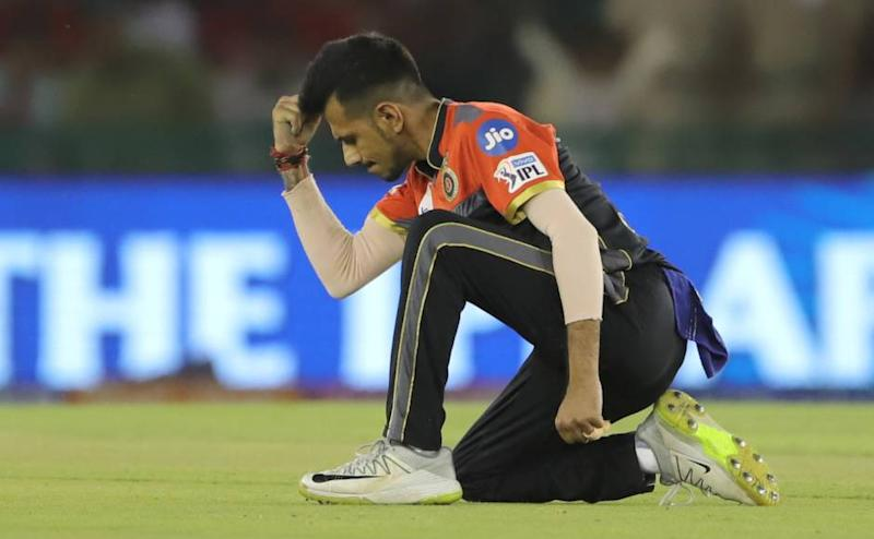 Yuzvendra Chahal of Royal Challengers Bangalore celebrates the wicket of Mayank Agarwal of Kings XI Punjab during match 28 of the Vivo Indian Premier League Season 12, 2019 between the Kings XI Punjab and the Royal Challengers Bangalore held at the IS Bindra Stadium, Mohali on the 13th April 2019 Photo by: Deepak Malik /SPORTZPICS for BCCI