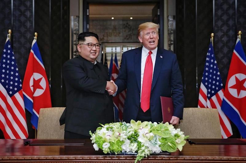 Donald trump and Kim Jung-un pledged