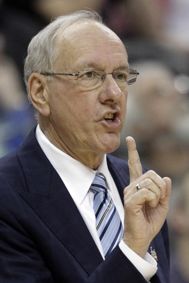 Syracuse coach Jim Boeheim gives instructions during the first half of an NCAA men's college basketball tournament second-round game against UNC-Asheville in Pittsburgh, Thursday, March 15, 2012. (AP Photo/Gene J. Puskar)