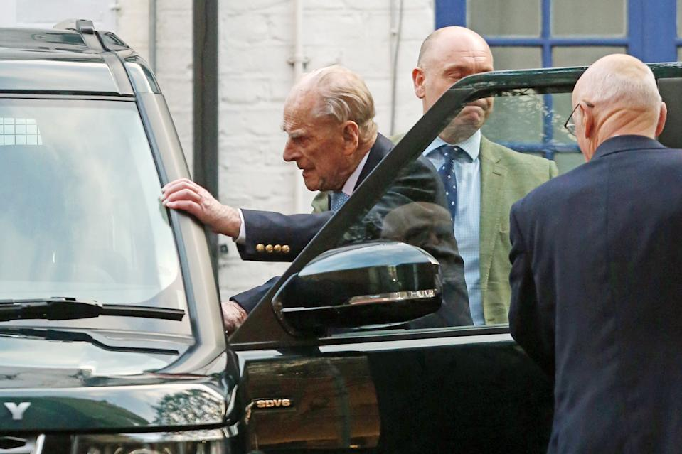 The Duke of Edinburgh leaves King Edward VII Hospital in London, after being admitted last Friday for observation and treatment in relation to a pre-existing condition. (Photo by Philip Toscano/PA Images via Getty Images)