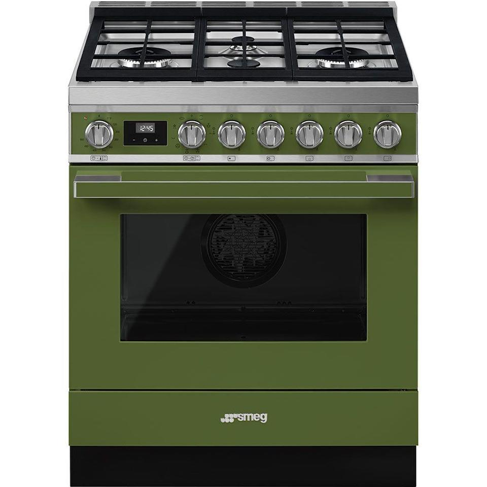 """<p><strong>Smeg USA</strong></p><p>smeg.com</p><p><a href=""""https://www.smeg.com/us/products/CPF30UGMOG"""" rel=""""nofollow noopener"""" target=""""_blank"""" data-ylk=""""slk:Shop Now"""" class=""""link rapid-noclick-resp"""">Shop Now</a></p><p>Bedecked in a charming green finish, Smeg's 30"""" Portofino range makes a big impact in a smaller-space kitchen. </p>"""