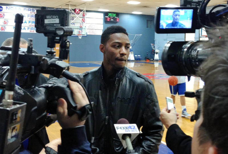 Creighton's Josh Jones talks to reporters on Thrusday, Dec. 27, 2012 in Omaha, Neb. Jones is quitting college basketball because of a heart condition. He fainted before the Dec. 6 game at Nebraska and underwent surgery 12 days later to fix an atrial flutter. Doctors have said he will require more procedures. (AP Photo/David Becker, File)