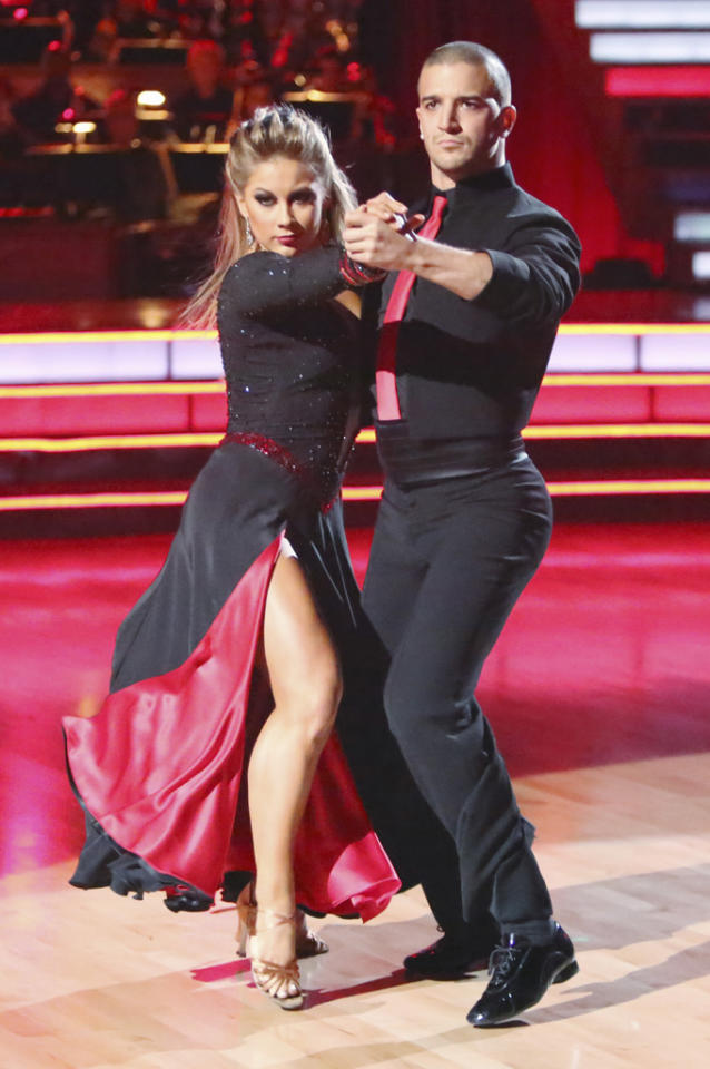 "Shawn Johnson and Mark Ballas perform on ""Dancing With the Stars: All-Stars."""
