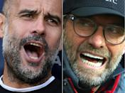 Manchester City boss Pep Guardiola (left) and Liverpool manager Jurgen Klopp have shared the past three Premier League titles