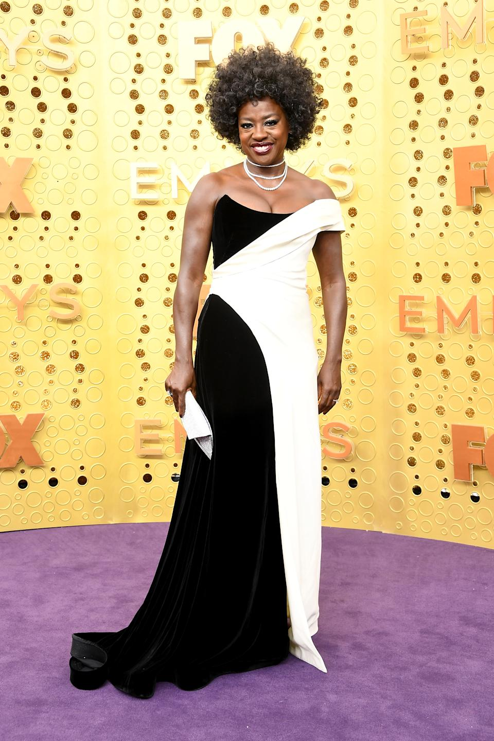 """""""Outstanding Lead Actress in a Drama Series"""" and """"How to Get Away With Murder"""" star Viola Davis wore a custom monochrome look by Alberta Ferretti. [Photo: Getty]"""