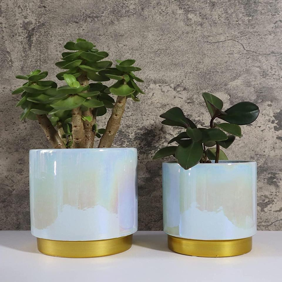 <p>The <span>YFFSRJDJ Iridescent Ceramic Planters</span> ($24 for two) is perfect for those who have a whimsical yet glamorous aesthetic. It comes in an iridescent peach color as well. </p>