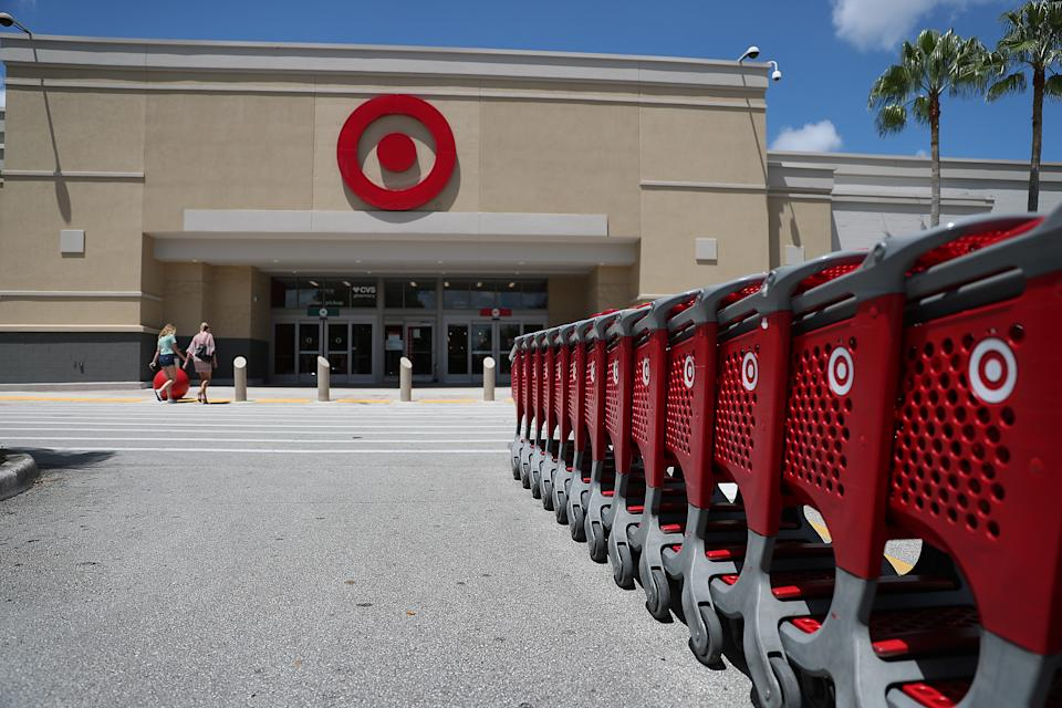 PEMBROKE PINES, FLORIDA - AUGUST 21: A Target store is seen on August 21, 2019 in Pembroke Pines, Florida. Target Corps. stock price soared after the retailer topped earnings expectations as the company announced that second-quarter profits jumped 17% to $938 million, while revenues rose to $18.4 billion, up 3.6% increase from the year-ago quarter. (Photo by Joe Raedle/Getty Images)