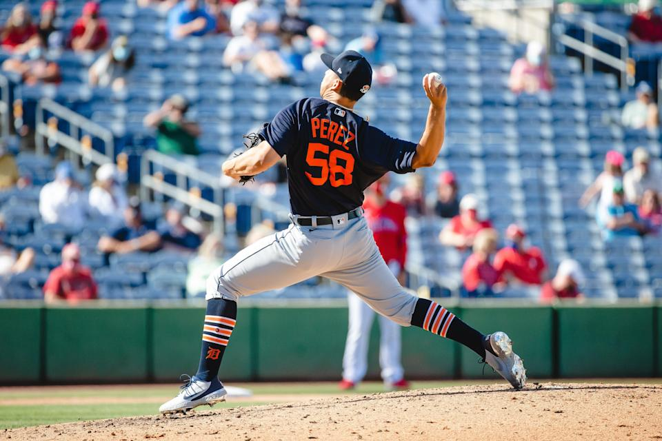 Detroit Tigers' Franklin Perez pitches against the Philadelphia Phillies at BayCare Ballpark in Clearwater, Florida on March 10, 2021.
