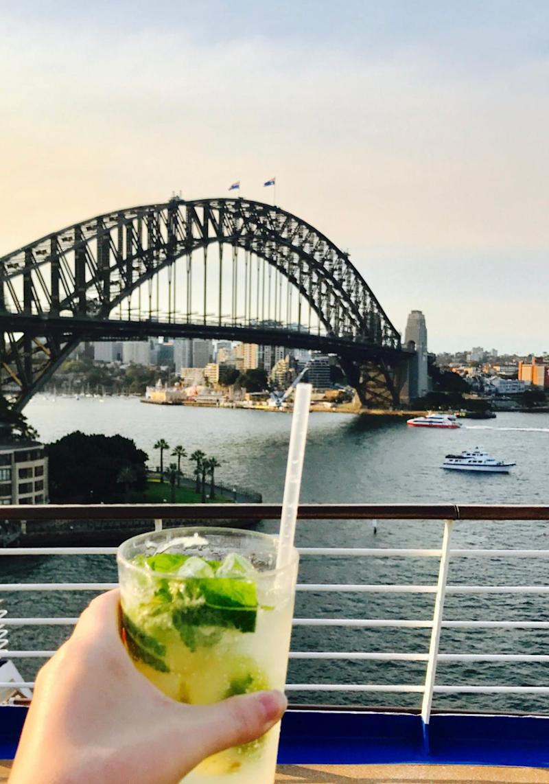 The cruise was off to a very good start with a mojito on the upper deck as we were preparing to set sail. Source: Be