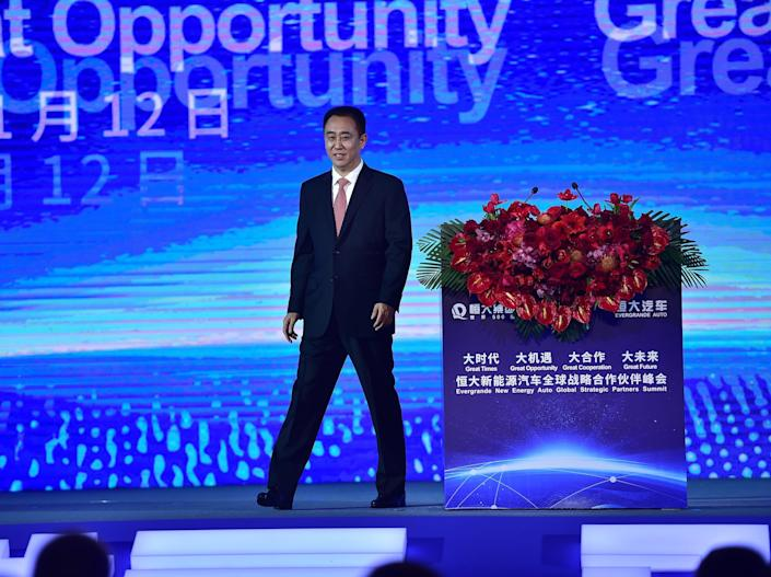 Evergrande Group Chairman Xu Jiayin attends Evergrande New Energy Auto Global Strategic Partners Summit on November 12, 2019 in Guangzhou, Guangdong Province of China.
