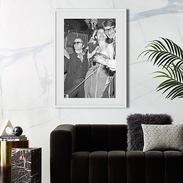 """A legendary print for the real legend in your life. $199, CB2. <a href=""""https://www.cb2.com/karl-lagerfeld-and-yves-saint-laurent/f18634"""" rel=""""nofollow noopener"""" target=""""_blank"""" data-ylk=""""slk:Get it now!"""" class=""""link rapid-noclick-resp"""">Get it now!</a>"""
