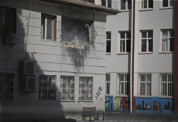 Damage from a mortar fired from inside Syria is seen in Akcakale, Sanliurfa province, southeastern Turkey, Oct. 20, 2019. (Photo: Emrah Gurel/AP)