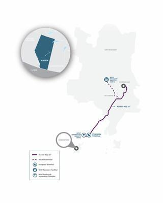 Map of NGL North project (CNW Group/Wolf Midstream)
