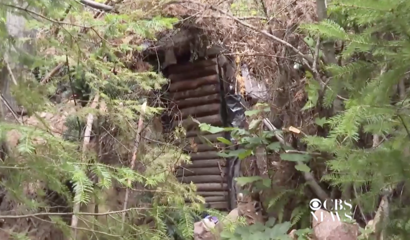 Pictured is the outside of the hideout of Jeremiah Button hidden in bushland in Wisconsin.