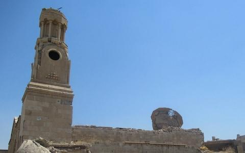 <span>The toppled remains for the Al-Tahira Church in Mosul </span> <span>Credit: Tim Stanley </span>