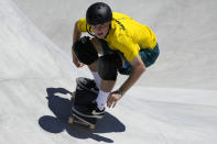Kieran Woolley of Australia competes in the men's park skateboarding finals at the 2020 Summer Olympics, Thursday, Aug. 5, 2021, in Tokyo, Japan. (AP Photo/Ben Curtis)
