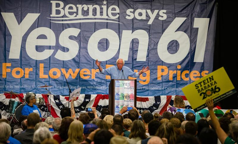 Bernie Sanders addresses the Yes on 61 Press Conference, on Sat. Oct. 15, 2016 in San Francisco, CA at the Marriott Marquis. (Photo: Tomas Ovalle/AP Images for AIDS Healthcare Foundation)