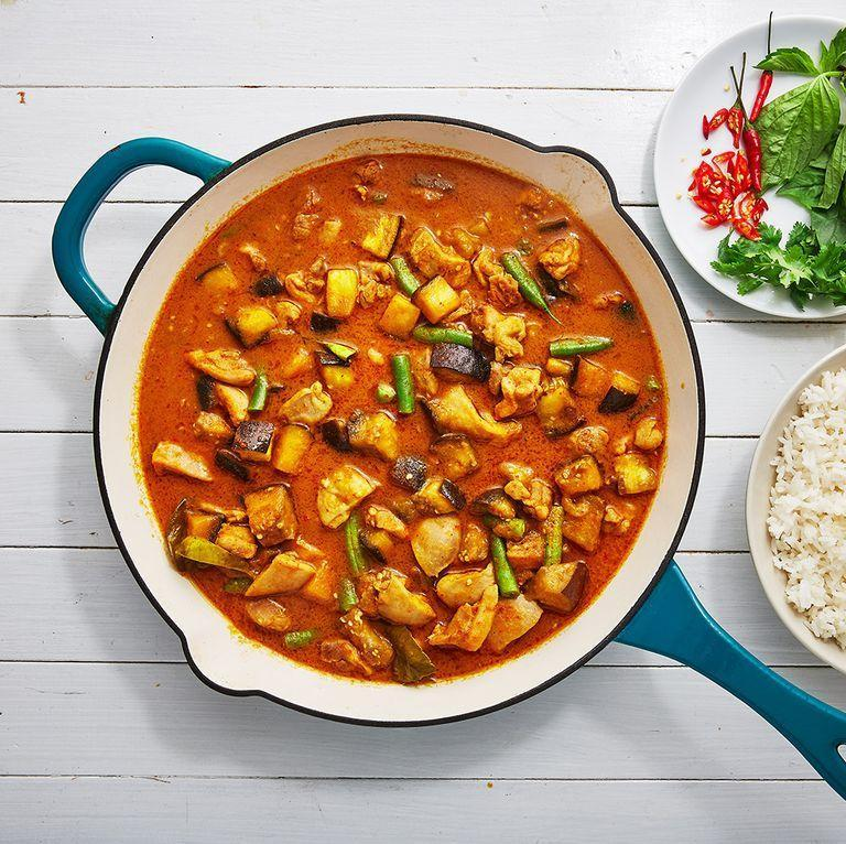 "<p>This Thai Red Curry recipe is SO flavourful and we can't wait to make this recipe everyday for like, the rest of our lives. Yep, it's that good. Packed with all the good stuff: <a href=""https://www.delish.com/uk/cooking/recipes/a30595799/creamy-chicken-stuffed-peppers-recipe/"" rel=""nofollow noopener"" target=""_blank"" data-ylk=""slk:peppers"" class=""link rapid-noclick-resp"">peppers</a>, <a href=""https://www.delish.com/uk/food-news/a29424483/freezing-chilli-peppers/"" rel=""nofollow noopener"" target=""_blank"" data-ylk=""slk:chillies"" class=""link rapid-noclick-resp"">chillies</a>, lemongrass, <a href=""https://www.delish.com/uk/cooking/recipes/a30271089/halloumi-salad/"" rel=""nofollow noopener"" target=""_blank"" data-ylk=""slk:aubergine"" class=""link rapid-noclick-resp"">aubergine</a> and green beans, this recipe is beyond delicious. </p><p>Get the <a href=""https://www.delish.com/uk/cooking/recipes/a30607284/thai-red-curry/"" rel=""nofollow noopener"" target=""_blank"" data-ylk=""slk:Thai Red Curry"" class=""link rapid-noclick-resp"">Thai Red Curry</a> recipe.</p>"