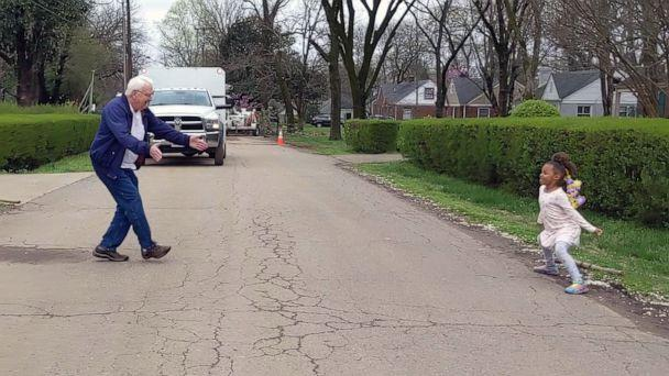 PHOTO: Kira Neely, 6, and her grandfather, Marvin Neely, 80, have dance-offs in their Nashville neighborhood during the coronavirus quarantine, as seen in an image made from video shared via Facebook on March 28, 2020. (Courtesy Sherrie Neely)