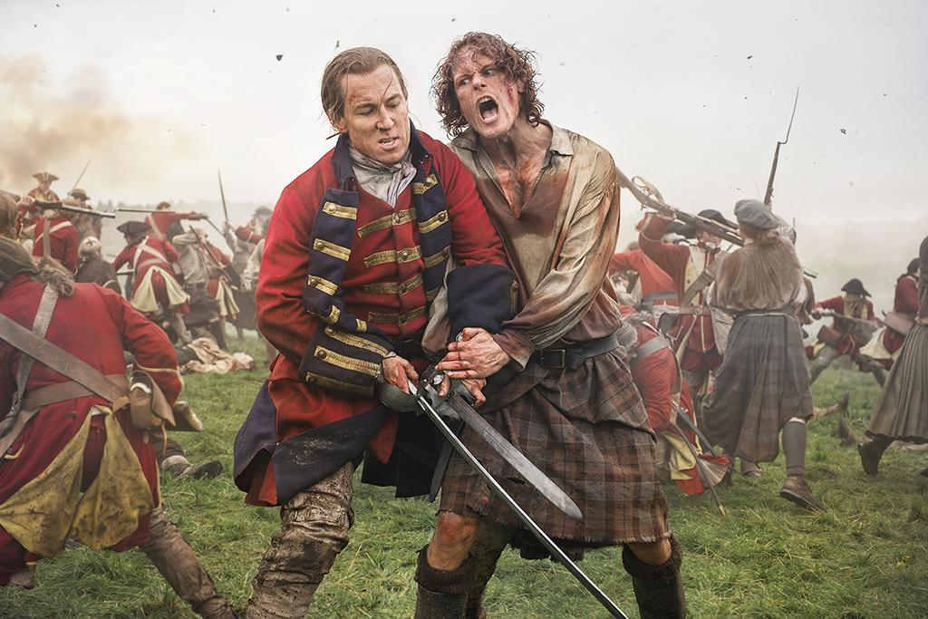 <p>Tobias Menzies as Black Jack Randall and Sam Heughan as Jamie Fraser in Starz's <i>Outlander</i>.<br /> (Photo: Starz) </p>