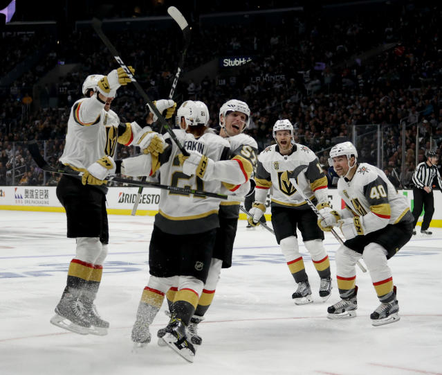 FILE - In this April 15, 2018, file photo, Vegas Golden Knights center Cody Eakin (21) celebrates after scoring against the Los Angeles Kings during the third period of Game 3 of an NHL hockey first-round playoff series in Los Angeles. The Golden Knights are the first new team in the NHL's modern era to have a winning record in their inaugural season, a period that began in 1967 and encompasses 26 new franchises (including one, the ill-fated California Seals, who are no longer around).(AP Photo/Chris Carlson, File)