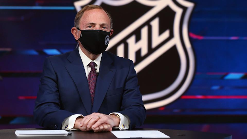 SECAUCUS, NEW JERSEY - OCTOBER 06: NHL commissioner Gary Bettman prepares for the first round of the 2020 National Hockey League Draft at the NHL Network Studio on October 06, 2020 in Secaucus, New Jersey. (Photo by Mike Stobe/Getty Images)