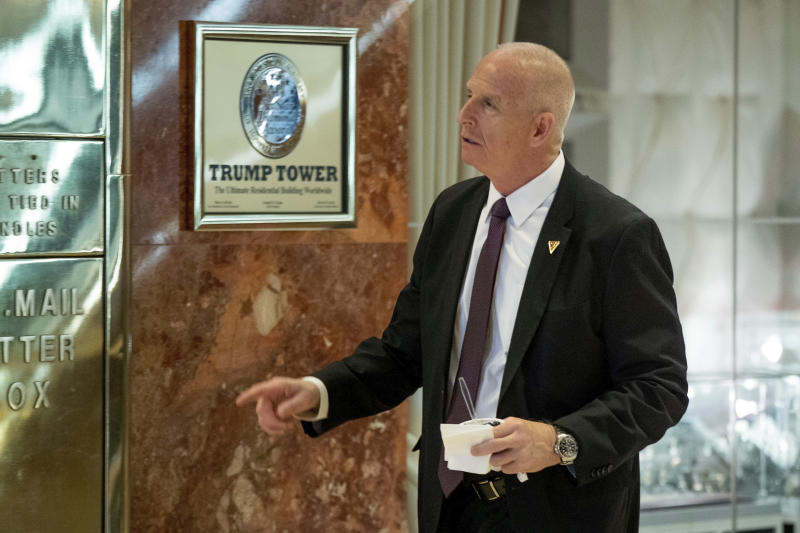 FILE - In this Jan. 5, 2017 file photo, Keith Schiller, Donald Trump's private security director, arrives at Trump Tower in New York. Schiller's relationship with Trump began at the Manhattan District Attorney's office in the late 1990s.  (AP Photo/Andrew Harnik, File)