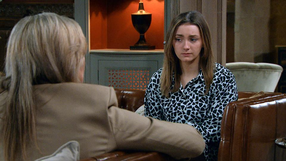 FROM ITV  STRICT EMBARGO  Print media - No Use Before Tuesday 11th May 2021 Online Media - No Use Before 0700hrs Tuesday 11th May  2021  Emmerdale - Ep 9052  Thursday 21st May 2021 - 1st Ep  Jamie Tate [ALEXANDER LINCOLN] is appalled Gabby Thomas [ROSIE BENTHAM] was told before him. Soon Gabby is outed for her meddling how will Kim Tate [CLAIRE KING] react?   Picture contact David.crook@itv.com   This photograph is (C) ITV Plc and can only be reproduced for editorial purposes directly in connection with the programme or event mentioned above, or ITV plc. Once made available by ITV plc Picture Desk, this photograph can be reproduced once only up until the transmission [TX] date and no reproduction fee will be charged. Any subsequent usage may incur a fee. This photograph must not be manipulated [excluding basic cropping] in a manner which alters the visual appearance of the person photographed deemed detrimental or inappropriate by ITV plc Picture Desk. This photograph must not be syndicated to any other company, publication or website, or permanently archived, without the express written permission of ITV Picture Desk. Full Terms and conditions are available on  www.itv.com/presscentre/itvpictures/terms