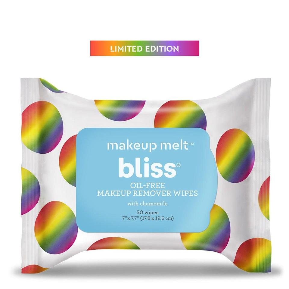 """<h2>Bliss Makeup Melt Wipes<br></h2> <br>Wipe off your pride makeup with these Bliss wipes, which not only benefit your skin thanks to chamomile, cucumber, and aloe, but also benefit The Trevor Project. Bliss will be donating 100% of net proceeds from its Makeup Melt Wipes to the organization so that you can cleanse for a real cause. <br><br><strong>Bliss</strong> Makeup Melt Wipes ,Oil-free Makeup Remover Wipes, $, available at <a href=""""https://go.skimresources.com/?id=30283X879131&url=https%3A%2F%2Fwww.blissworld.com%2Fmakeup-melt-wipes%2F"""" rel=""""nofollow noopener"""" target=""""_blank"""" data-ylk=""""slk:Bliss"""" class=""""link rapid-noclick-resp"""">Bliss</a><br>"""