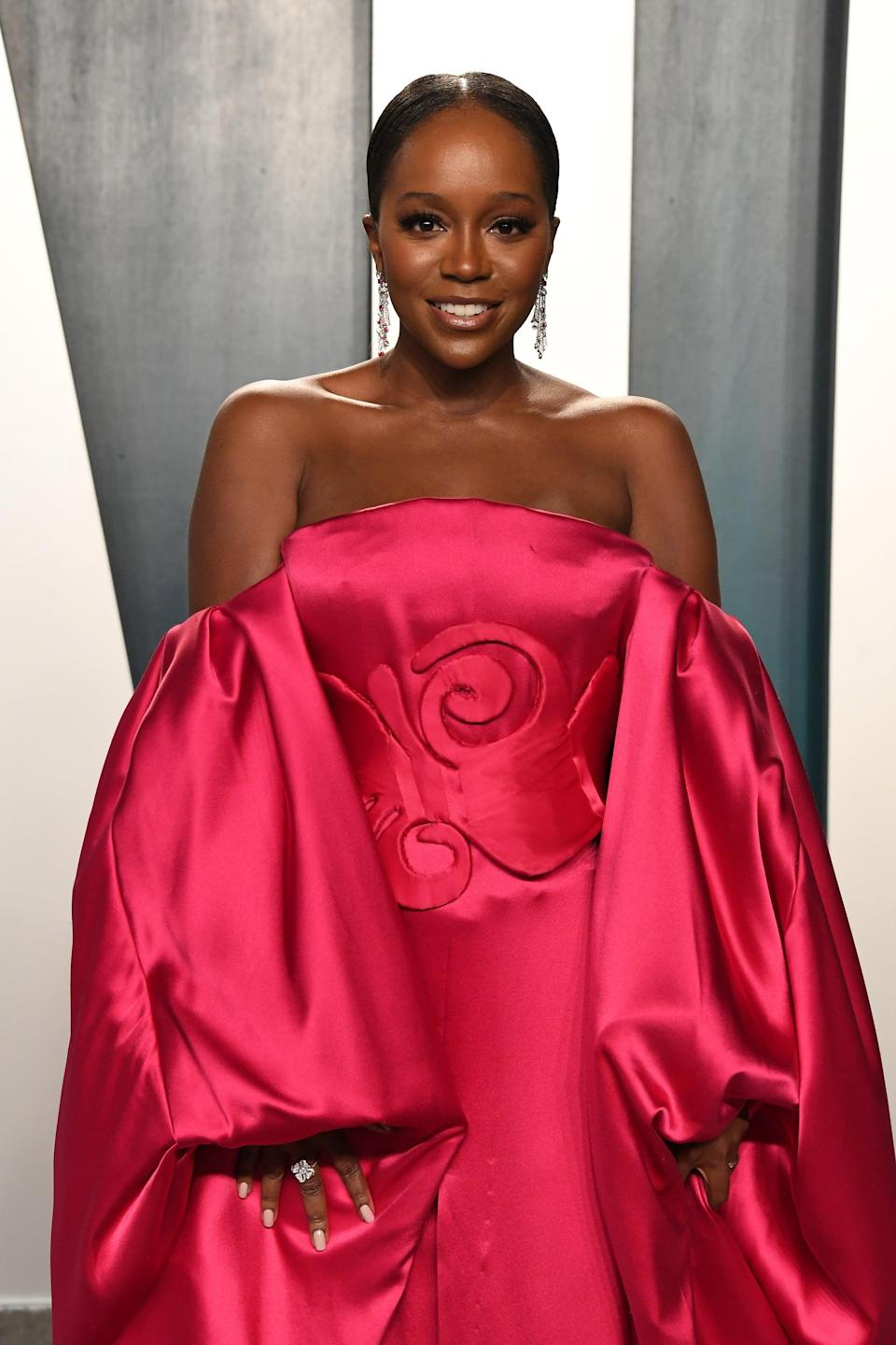 BEVERLY HILLS, CALIFORNIA - FEBRUARY 09: Aja Naomi King attends the 2020 Vanity Fair Oscar Party hosted by Radhika Jones at Wallis Annenberg Center for the Performing Arts on February 09, 2020 in Beverly Hills, California. (Photo by Jon Kopaloff/WireImage)