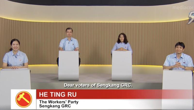 The Workers' Party team for Sengkang GRC in GE2020 at a constituency political broadcast on 7 July 2020. (SCREENSHOTS: Mediacorp/YouTube)