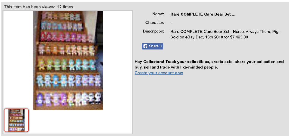 Complete Care Bear set that sold for US $7,495 or AU $10,760. (Source: carebear.collectionhero.com)