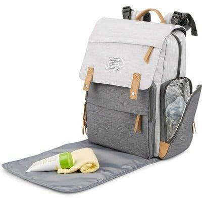 <p>The <span>Eddie Bauer Cascade Back Pack Diaper Bag</span> ($65) has 12 pockets in total, including one exterior and two interior insulated bottle pockets.</p>