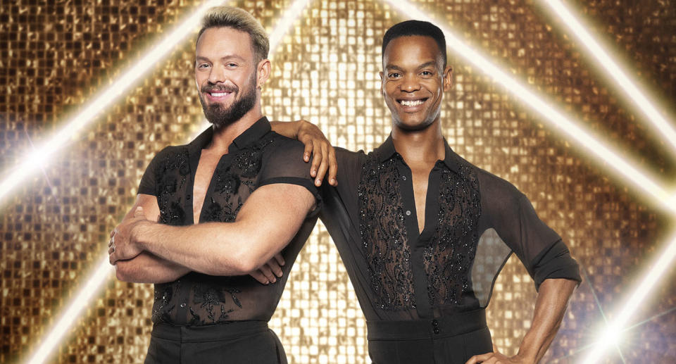 WARNING: Embargoed for publication until 21:30:01 on 18/09/2021 - Programme Name: Strictly Come Dancing 2021 - TX: n/a - Episode: Strictly Come Dancing - Generics (No. n/a) - Picture Shows: *NOT FOR PUBLICATION UNTIL 21:30hrs, SATURDAY 18TH SEPTEMBER, 2021* John Whaite, Johannes Radebe - (C) BBC - Photographer: Ray Burmiston
