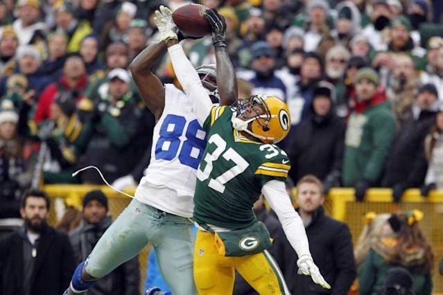 Dez Bryant's overturned catch in the playoffs two years ago is one of the most controversial plays in NFL history. (AP)