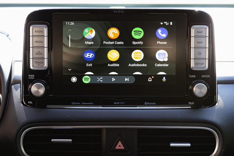 This undated photo provided by Edmunds shows the 2019 version of Android Auto, which features a new app launcher. Android Auto and Apple CarPlay allow you to connect your phone to a vehicle and utilize many of your phone's apps, such as map navigation, text messaging and online music streaming. (Scott Jacobs/Edmunds via AP)