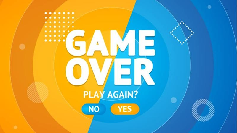 Game Over or Play Again Concept Banner Card.