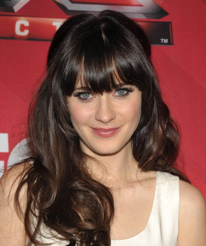 "<p>Zooey Deschanel is the queen of full, eyelash-skimming bangs. A voluminous blowout  shows off her thick, healthy locks and draws attention to her eyes. Finish the look off with a fine mist shine spray. </p><p><strong>Try</strong>: <a href=""https://www.amazon.com/Garnier-Fructis-Brilliantine-Glossing-Packaging/dp/B000NOFZTY?ref_=fsclp_pl_dp_4&th=1"" target=""_blank"">Garnier Fructis  Brilliantine Shine Spray</a> ($3, Amazon)</p>"