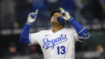 Kansas City Royals Salvador Perez celebrates after hitting a home run to give the Royals a lead over the Cleveland Indians during the fifth inning of a baseball game Tuesday, May 4, 2021, in Kansas City, Mo. (AP Photo/Reed Hoffmann)