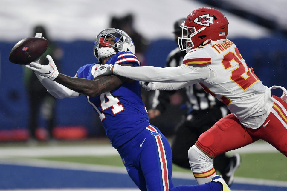 Kansas City Chiefs' Juan Thornhill, right, breaks up a pass intended for Buffalo Bills' Stefon Diggs during the first half of an NFL football game, Monday, Oct. 19, 2020, in Orchard Park, N.Y. (AP Photo/Adrian Kraus)