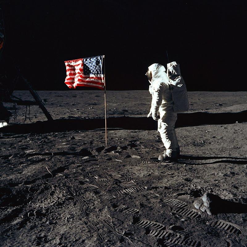 Buzz Aldrin poses for a photograph on the Moon - REX/Shutterstock