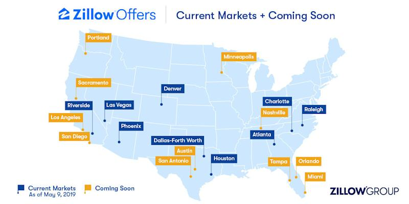 A map of the U.S. that shows the 9 markets where Zillow already provides Zillow Offers plus the cities where it will be coming.