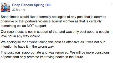 Snap Fitness issued a public apology on their Facebook page after copping mass criticism over the post. Photo: Facebook