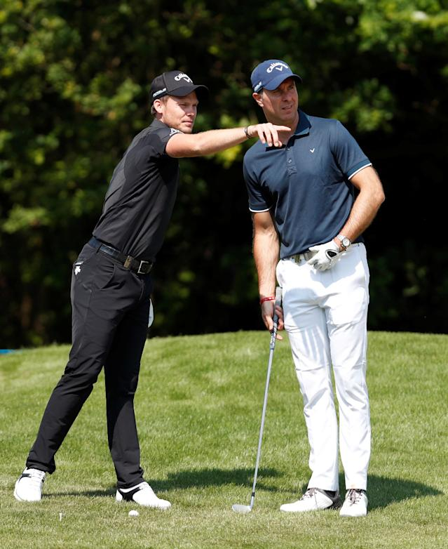 Golf - European Tour - BMW PGA Championship - Wentworth Club, Virginia Water, Britain - May 23, 2018 England's Danny Willett with former cricketer Michael Vaughan during the pro-am Action Images via Reuters/Paul Childs