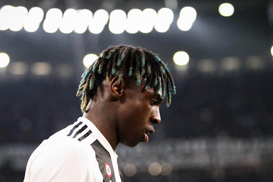 Juventus forward Moise Kean (18) during the Serie A football match n.31 JUVENTUS - MILAN on 06/04/2019 at the Allianz Stadium in Turin, Italy. (Photo by Matteo Bottanelli/NurPhoto via Getty Images)