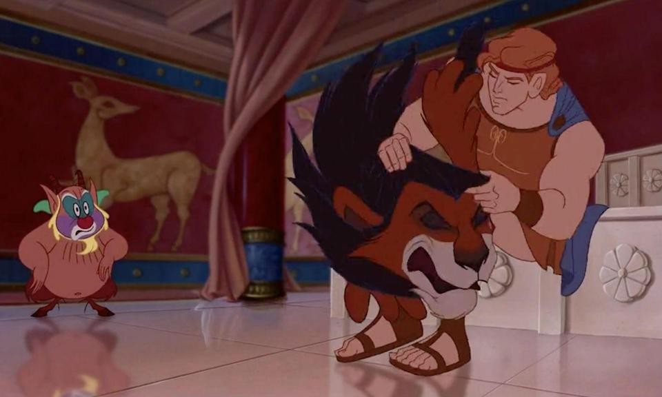 <p>A pretty morbid appearance for Scar who turns up dead in the Greek animation and worn by Hercules during the Zero to Hero number. </p>