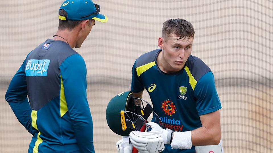 Marnus Labuschagne is pictured here at training with Aussie coach Justin Langer.