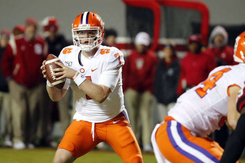 Former Clemson quarterback Chase Brice (7) is transferring to Duke. (AP Photo/Karl B DeBlaker)