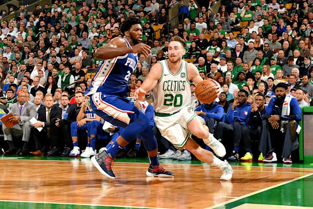 Gordon Hayward looks to operate against Joel Embiid on Tuesday night in Boston. (Getty)